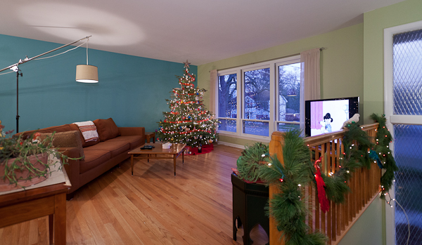 Christmas Decorations And A Living Room Dining Room Before