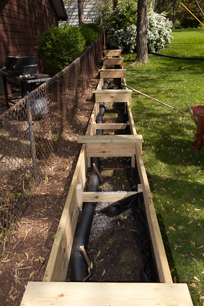 Box Drains Landscape Drainage : New built in planter boxes and yard drainage plans